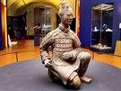 Čínský terakotový voják, kterého archeologové přivezli na Pražský hrad.