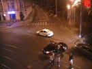Záběr z průmyslové kamery na náměstí Kinských krátce po nehodě, při níž v úterý...