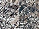 Satelitn� sn�mky n�sledk� izraelsk�ho bombardov�n� m�sta Bajt Han�n v P�smu Gazy.