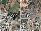 Satelitn� sn�mky n�sledk� izraelsk�ho bombardov�n� m�sta Bajt Lah�ja v P�smu Gazy.