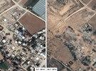 Satelitn� sn�mky n�sledk� izraelsk�ho bombardov�n� m�sta Al Atatra v P�smu Gazy.