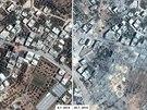 Satelitní snímky následků izraelského bombardování Gazy.