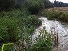 Vodu z rosického zimního stadionu hasiči odčerpávali do Říčanského potoka.