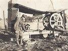 Snímek polní kuchyně 54. Hanáckého pluku pořízený roku 1918 v severní Itálii.