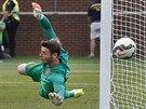 David De Gea, gólman Manchesteru United, inkasuje v utkání s Realem Madrid.