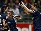 Edison Cavanni, Marco Verati a Zlatan Ibrahimovic (zleva) se radují z gólu...