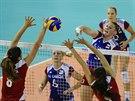 Momentka z druhého turnaje Grand Prix volejbalistek - zleva Dulce Carranzaová z...