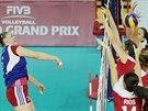 Momentka z Grand prix ve volejbale žen mezi Českem a Mexikem (červená)