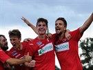 Ústečtí fotbalisté slaví gól v utkání proti Varnsdorfu.