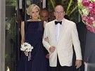 Monacký kníže Albert II. a těhotná kněžna Charlene na Red Cross Gala (Monte...