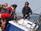Pippa Middletonová na závodě plachetnic (Cowes, 3. srpna 2014)