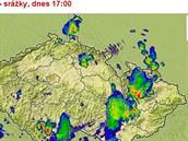 Mapa srážek v sobotu 9. srpna v 17 hodin