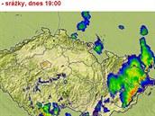 Mapa srážek v sobotu 9. srpna v 19 hodin