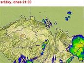Mapa srážek v sobotu 9. srpna ve 21 hodin