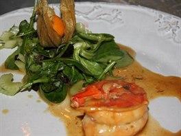 Obří krevety se salátem