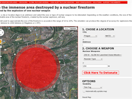 Exploze 250kilotunové bojové hlavice rakety ALCM nad Prahou za mlhy.