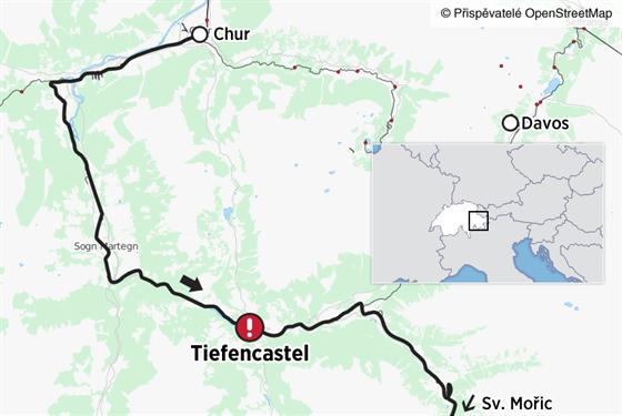 Mapka nehody vlaku u Tiefencastelu