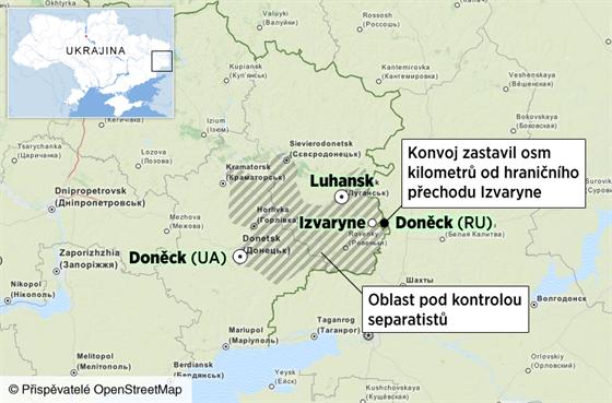 MAPKA: Ruský konvoj dorazil k hranici