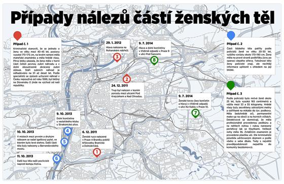 MAPA: Případy nálezů částí ženských těl