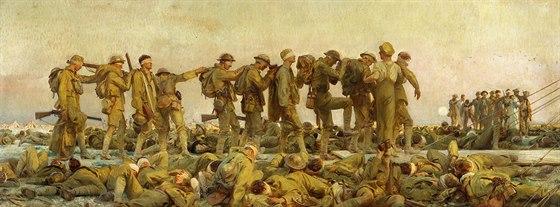 """Obraz """"Zasaženi plynem""""  Johna Singera Sargenta dokončený v roce 1919 zachycuje..."""