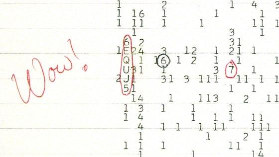 Wow signál - barevný sken ze záznamového archu opatřený komentářem astronoma...