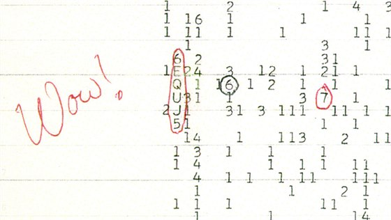 Wow sign�l - barevn� sken ze z�znamov�ho archu opat�en� koment��em astronoma...