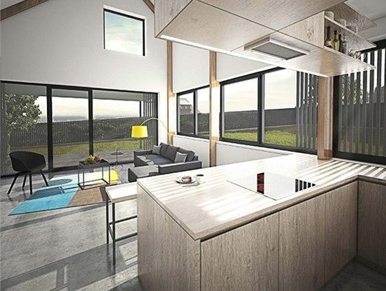 Vizualiazce: vnitřnímu prostoru dominuje převýšený obývací pokoj otevřený do