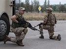 Ukrajinští vojáci z batalionu Donbas na předměstí Doněcku (12. srpna 2014)