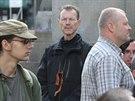 Na Václavské náměstí dorazili i odpůrci homosexuálů. Tento muž se svatojiřskou...