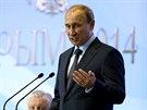 Ruský prezident Putin během projevu na Krymu (14. srpna 2014).