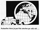 Reklama na automobily značky Aero z roku 1934. Kromě malých typů Aero 10 HP, 18 HP a litru je zde inzerována i nová třicítka.