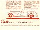 """Reklama na automobil Aero 30. Slogan """"malý vůz pro velké cesty"""" pochází ještě z dob předchozích malých aerovek. Pro třicítku byl později vymyšlen slogan trefnější: """"rychlý vůz pro velké cesty""""."""