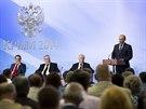 Ruský prezident Vladimir Putin během svého proslovu na závěr své návštěvy...