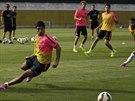 Urguayský útočník Luis Suárez během tréninku Barcelony. Bylo jeho první poté,...