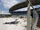 Smutný pohled na areál pro plá�ový volejbal.