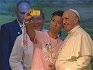 Korejský student má slušný úlovek. Selfie s papežem Františkem