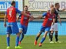 PLZEŇSKÁ RADOST. Daniel Kolář oslavuje gól, kterým přispěk k vysokému vítězství...