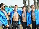 Členové českého čtyřkajaku se zlatými medailemi z mistrovství světa v Moskvě.