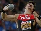 David Storl ve finále koulařů na mistrovství Evropy v Curychu.