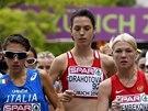 Vytáhlá chodkyně Anežka Drahotová (uprostřed) v závodu na dvacet kilometrů na