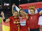 MEDAILISTKY. Zleva bronzová Linda Stahlová, vítězná Barbora Špotáková a druhá...