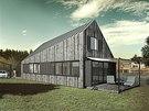 Vizualiazce: Fasádu domu i zahradního skladu nechali architekti obložit svislým