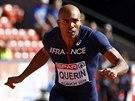 Francouzský desetibojař Gael Querin v cíli běhu na sto metrů.