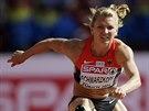 N�meck� viceboja�ka Lilli Schwarzkopfov� na trati 100 metr� p�ek�ek
