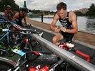 Momentka z Evropského poháru v triatlonu v Karlových Varech - na snímku je...