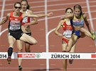 Momentka ze závodu na 3000 metrů překážek, na snímku vlevo vítězka z Německa,...