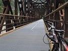 Železniční viadukt nad  Chiusaforte dnes slouží cyklistům.
