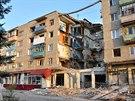 Trosky domu v Mikolajevce nedaleko Slavjansku, který zničil dělostřelecký...