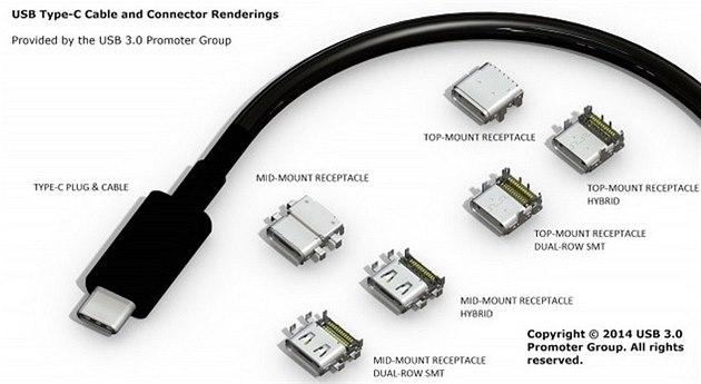 Nový USB konektor �typ C� a varianty jeho zdí�ek