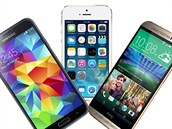 Samsung Galaxy S5, iPhone 5s a HTC One M8